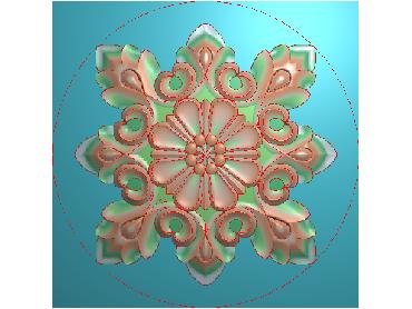 OUYH079-JDP格式欧式圆形洋花精雕图圆花电脑雕刻图欧式圆洋花精雕图