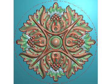 OUYH195-JDP格式欧式圆形洋花精雕图圆花电脑雕刻图欧式圆洋花精雕图