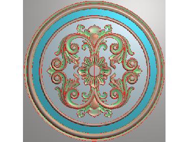 OUYH319-JDP格式欧式圆形洋花精雕图圆花电脑雕刻图欧式圆洋花精雕图