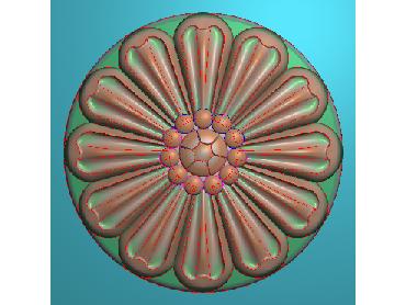 OUYH323-JDP格式欧式圆形洋花精雕图圆花电脑雕刻图欧式圆洋花精雕图