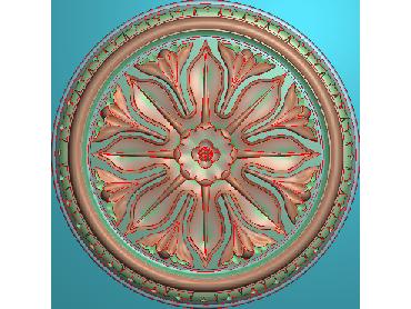 OUYH339-JDP格式欧式圆形洋花精雕图圆花电脑雕刻图欧式圆洋花精雕图