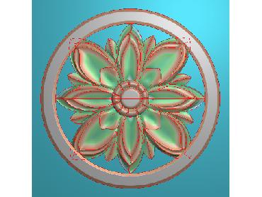 OUYH361-JDP格式欧式圆形洋花精雕图圆花电脑雕刻图欧式圆洋花精雕图