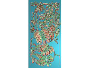 BJ130-JDP格式中式芭蕉叶浮雕图花草电脑雕刻图芭蕉精雕图