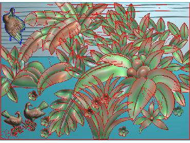 BJ162-JDP格式中式芭蕉叶浮雕图花草电脑雕刻图芭蕉精雕图