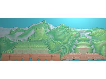 ZSCC008-JDP格式中式山水风景浮雕图长城电脑雕刻图长城精雕图