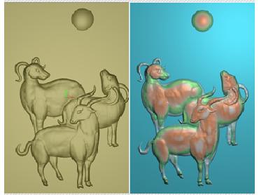 DWRS004-JDP格式中式三羊开泰中式浮雕图三羊开泰电脑激光雕刻图三羊开泰精雕图