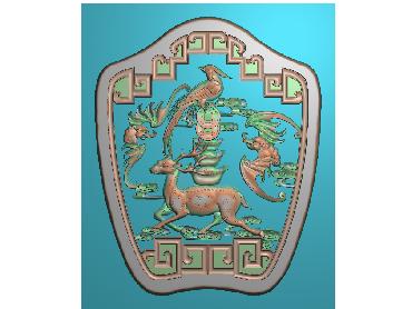 DWRS053-JDP格式中式梅花鹿元宝中式浮雕图梅花鹿元宝电脑激光雕刻图梅花鹿元宝精雕图