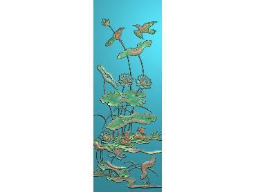 HE018-JDP格式中式荷花中式浮雕图植物花鸟鱼虫电脑雕刻图莲花精雕图(含灰度图)