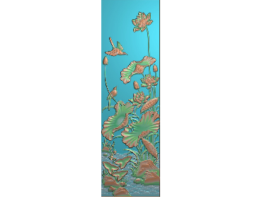HE025-JDP格式中式荷花中式浮雕图植物花鸟鱼虫电脑雕刻图莲花精雕图(含灰度图)