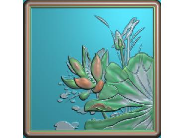 HE032-JDP格式中式荷花中式浮雕图植物花鸟鱼虫电脑雕刻图莲花精雕图(含灰度图)