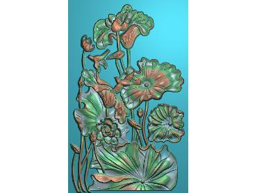 HE034-JDP格式中式荷花中式浮雕图植物花鸟鱼虫电脑雕刻图莲花精雕图(含灰度图)
