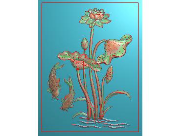 HE062-JDP格式中式荷花中式浮雕图植物花鸟鱼虫电脑雕刻图莲花精雕图(含灰度图)