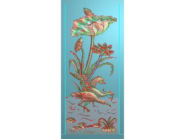 HE143-JDP格式中式荷花中式浮雕图植物花鸟鱼虫电脑雕刻图莲花精雕图(含灰度图)