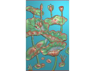 HE195-JDP格式中式荷花中式浮雕图植物花鸟鱼虫电脑雕刻图莲花精雕图(含灰度图)