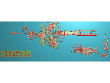 HE198-JDP格式中式荷花中式浮雕图植物花鸟鱼虫电脑雕刻图莲花精雕图(含灰度图)