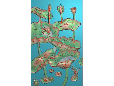 HE199-JDP格式中式荷花中式浮雕图植物花鸟鱼虫电脑雕刻图莲花精雕图(含灰度图)