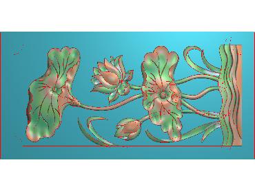 HE212-JDP格式中式荷花中式浮雕图植物花鸟鱼虫电脑雕刻图莲花精雕图(含灰度图)
