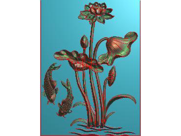 HE249-JDP格式中式荷花中式浮雕图植物花鸟鱼虫电脑雕刻图莲花精雕图(含灰度图)