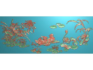 HE255-JDP格式中式荷花中式浮雕图植物花鸟鱼虫电脑雕刻图莲花精雕图(含灰度图)