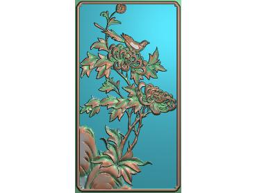 HC039-JDP格式中式四季花草中式浮雕图植物花鸟电脑雕刻图花草精雕图(含灰度图)