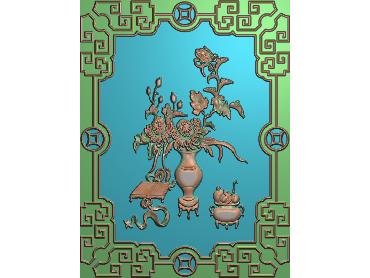 HC084-JDP格式中式四季花草中式浮雕图植物花鸟电脑雕刻图花草精雕图(含灰度图)