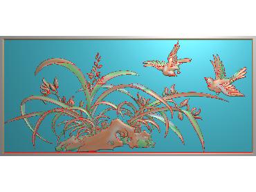 HC095-JDP格式中式四季花草中式浮雕图植物花鸟电脑雕刻图花草精雕图(含灰度图)