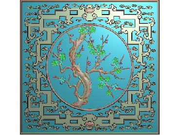 HC107-JDP格式中式四季花草中式浮雕图植物花鸟电脑雕刻图花草精雕图(含灰度图)