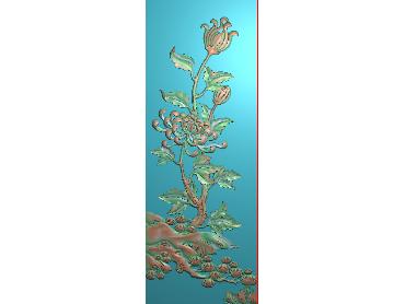 HC127-JDP格式中式四季花草中式浮雕图植物花鸟电脑雕刻图花草精雕图(含灰度图)
