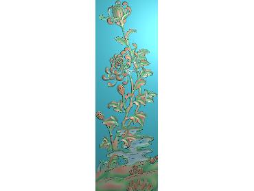 HC129-JDP格式中式四季花草中式浮雕图植物花鸟电脑雕刻图花草精雕图(含灰度图)