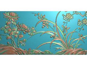 HC136-JDP格式中式四季花草中式浮雕图植物花鸟电脑雕刻图花草精雕图(含灰度图)