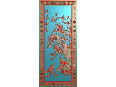 HC143-JDP格式中式四季花草中式浮雕图植物花鸟电脑雕刻图花草精雕图(含灰度图)