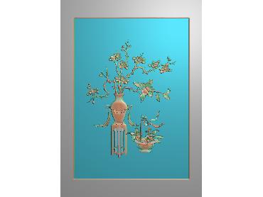 HC171-JDP格式中式四季花草中式浮雕图植物花鸟电脑雕刻图花草精雕图(含灰度图)