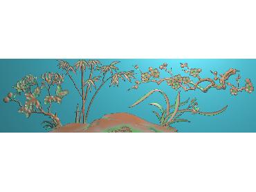 HC174-JDP格式中式四季花草中式浮雕图植物花鸟电脑雕刻图花草精雕图(含灰度图)