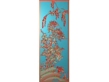 HC260-JDP格式中式四季花草中式浮雕图植物花鸟鱼虫电脑雕刻图花草精雕图