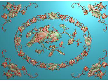 HC265-JDP格式中式四季花草中式浮雕图植物花鸟鱼虫电脑雕刻图花草精雕图