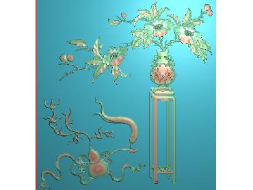 HC314-JDP格式中式四季花草中式浮雕图植物花鸟鱼虫电脑雕刻图花草精雕图