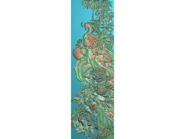 LF013-JDP格式中式双凤竹牡丹竖版浮雕图双凤竹牡丹竖版电脑激光雕刻图双凤竹牡丹竖版精雕图