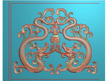 LF025-JDP格式中式小图案草龙浮雕图小图案草龙电脑激光雕刻图小图案草龙精雕图