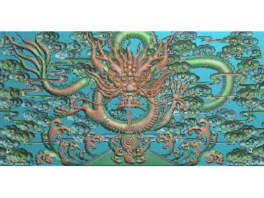 LF085-JDP格式中式龙床中花板单龙有头浮雕图龙床中花板单龙有头电脑激光雕刻图龙床中花板单龙有头精雕图