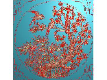 MLZJ056-JDP格式中式梅兰竹菊浮雕图花鸟鱼虫电脑雕刻图四君子精雕图