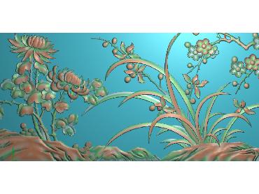 MLZJ134-JDP格式中式梅兰竹菊浮雕图花鸟鱼虫电脑雕刻图四君子精雕图