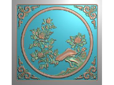 MDHN003-JDP格式中式牡丹浮雕图花鸟鱼虫电脑雕刻图牡丹花精雕图(含灰度图)