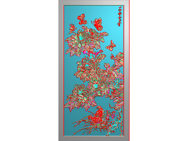 MDHN010-JDP格式中式牡丹浮雕图花鸟鱼虫电脑雕刻图牡丹花精雕图(含灰度图)