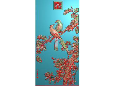 MDHN012-JDP格式中式牡丹浮雕图花鸟鱼虫电脑雕刻图牡丹花精雕图(含灰度图)