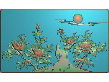 MDHN021-JDP格式中式牡丹浮雕图花鸟鱼虫电脑雕刻图牡丹花精雕图(含灰度图)