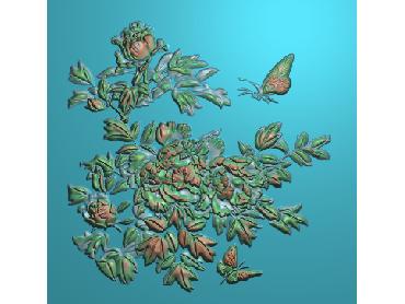 MDHN027-JDP格式中式牡丹浮雕图花鸟鱼虫电脑雕刻图牡丹花精雕图(含灰度图)