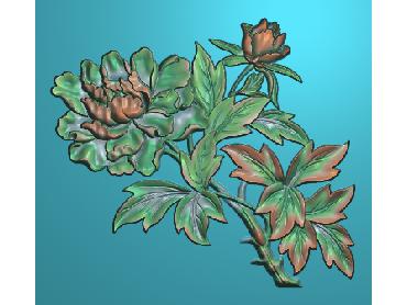 MDHN028-JDP格式中式牡丹浮雕图花鸟鱼虫电脑雕刻图牡丹花精雕图(含灰度图)