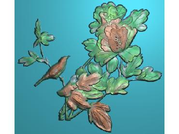 MDHN037-JDP格式中式牡丹浮雕图花鸟鱼虫电脑雕刻图牡丹花精雕图(含灰度图)