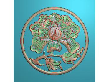 MDHN038-JDP格式中式牡丹浮雕图花鸟鱼虫电脑雕刻图牡丹花精雕图(含灰度图)