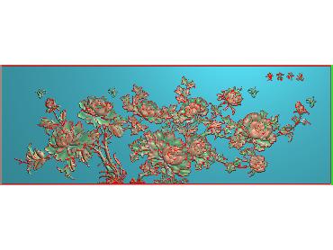 MDHN043-JDP格式中式牡丹浮雕图花鸟鱼虫电脑雕刻图牡丹花精雕图(含灰度图)